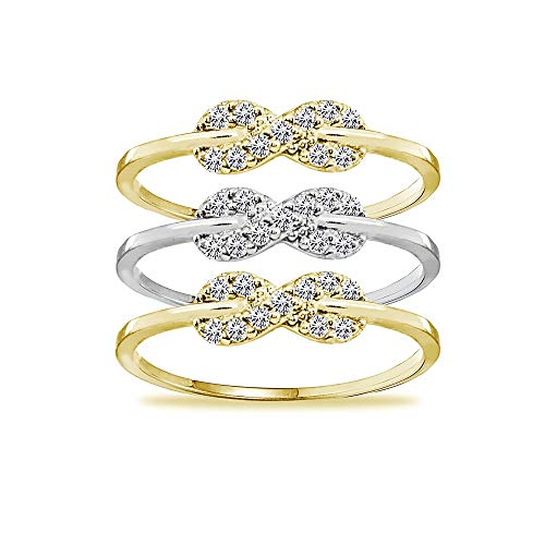 - Two-Tone Yellow Gold Flashed Sterling Silver Cubic Zirconia Stackable Infinity Band Rings, Set of 3, Size 8