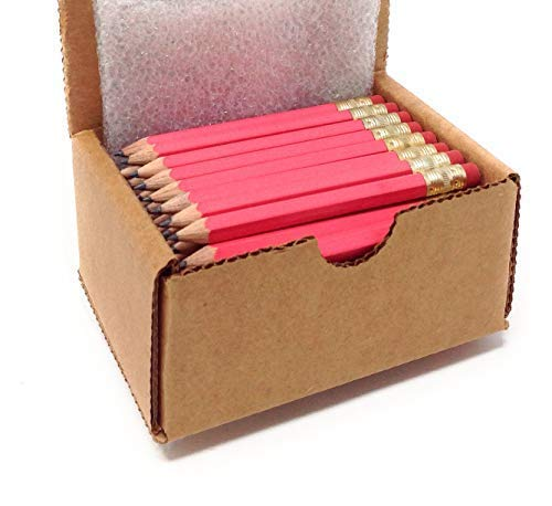 Half Pencils with Eraser - Golf, Classroom, Pew, Pocket -#2 Hexagon, Sharpened, (Box of 48). Color Choice: (Pink)