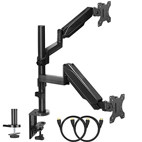 (Dual Arm Monitor Stand, Full Motion Adjustable Gas Spring Monitor Mount Riser with C Clamp/Grommet Base for Two 17 to 32 inch LCD Computer Screens, Each Arm Holds up to)