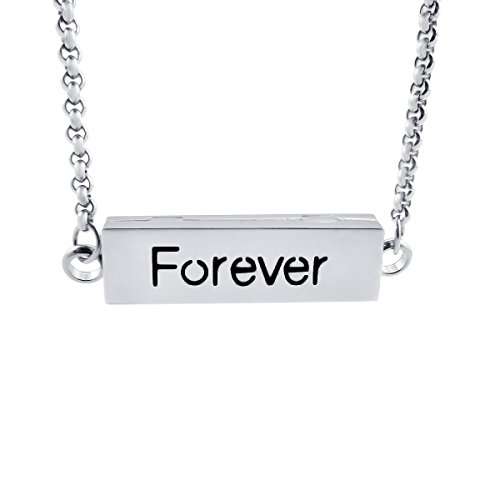ZhenPing Jewwlry Engraved Love Essential Oil Bar Necklace Stainless Steel Inspirational Pendant (Forever)