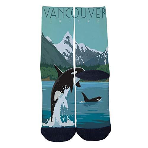(Retro poster Vancouver Island Canada Socks Custom Crew Socks Men/Women Casual Cartoon Socks Creative Comfortable Socks)
