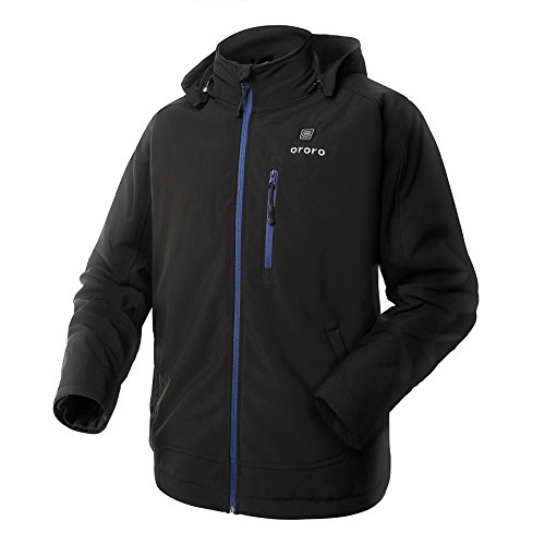 ORORO Men's Soft Shell Heated Jacket with Detachable Hood and Battery Pack (Blue,M)