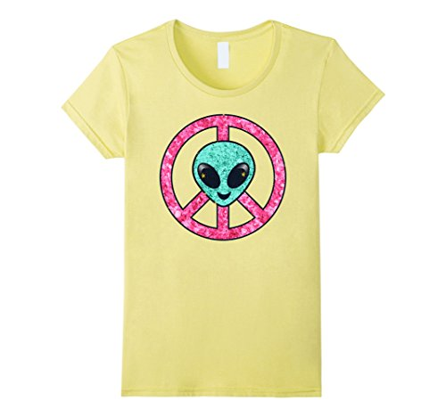 Womens Vintage Emoji Hippie Alien Aqua Peace Sign Pink Gold Shirt Medium Lemon