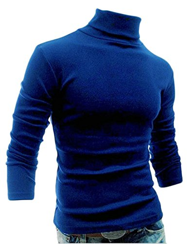 Discount ainr Men's Slim Fit Turtleneck Long Sleeve Solid Color Basic Knit Pullover Sweater for cheap