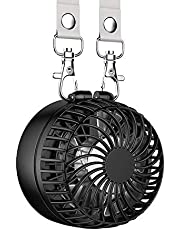EasyAcc Mini Fan Necklace Fan Hand Fan Personal Fan Foldable with 6-18 Hours 2600mAh Rechargeable Battery 3 Speed Adjustable for Indoor and Travel Outdoor Black