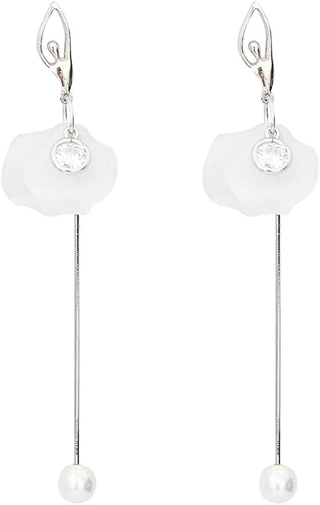 MEEOI Ear Stud Earrings Ear Hoop 925 de plata esterlina para mujer, largos diamantes de perla de diamante de plata Pendientes