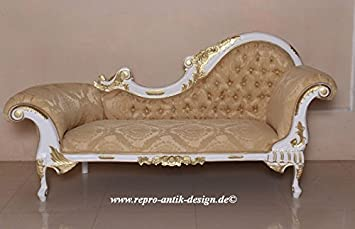 Chaiselongue Barock Sofa Couch Louis XV Repro Antik Design Weiss Barocksofa Nostalgie Vintage