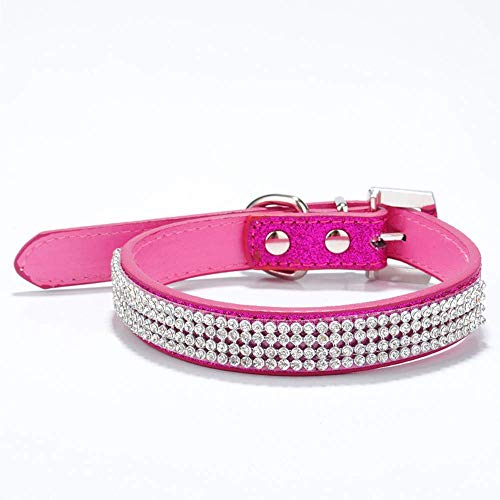 Classic Necklaces Rhinestone Buckle Dog With Dog Collar Rose Red 2.5 51Cm (Color : -, Size : -) ()