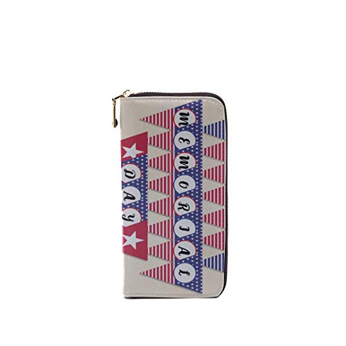 Unisex Rfid Leather Zipper Long Wallets For Men Happy Memorial Day Flag Banner Patriotic Party D Unique Custom Clutch Bag Purse Credit Card Holder Cash Cellphone Wallet For Women