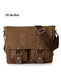 Yingbo Canvas Messenger Bag Shoulder Bag Laptop Bag Computer Bag Satchel Bag Bookbag School Bag Working Bag for Men and Women (COFFEE)