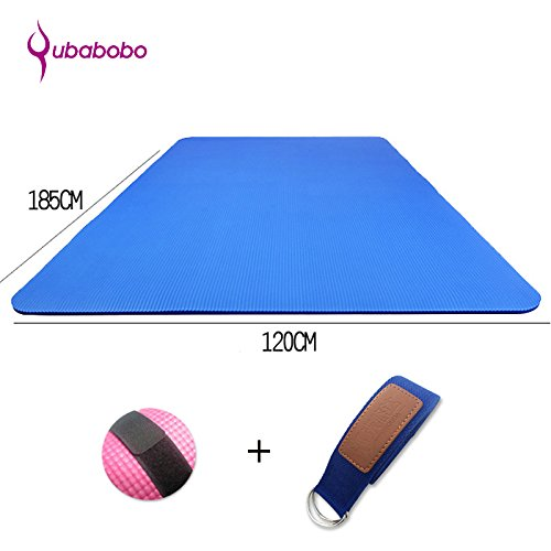 "Cheap QUBABOBO 1/2-Inch Extra Thick High Density NBR Foam Exercise Double Yoga Mat With Carrying Strap Fitness Mat For Partner Yoga,Pilates,Gym (72.8""47.24""0.59″) Blue"