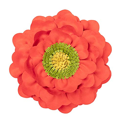 JWH 3D Peony Flower Accent Pillow Handmade Cushion Decorative Pillowcase with Pillow Insert Solid Suede Sham Home Bed Living Room Decor Girl Gift 14 Inch Coral ()