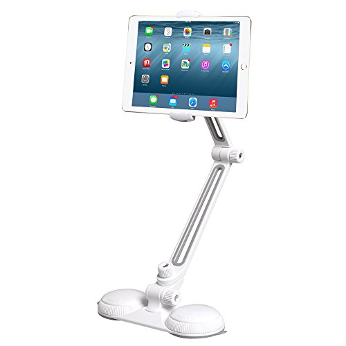 Tablet and Cell Phone Holder Stand ITART iPad iPhone Base Mount Holder Long Arm Foldable Aluminum with Strong Suction Cups Lazy Bracket Holder in Bedroom, Office, Kitchen
