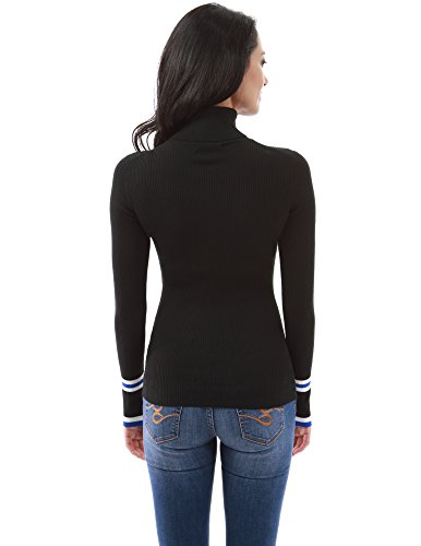 PattyBoutik Mujer Jersey de manga larga con rayas y manga larga negro
