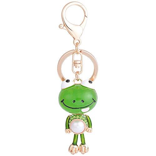 Crystal Animal rhinestones Pearl kawaii cute Frog Shape Car Key Chains Key Ring Tassels keyring keychains animals Women Bag charms