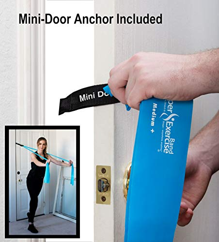 Super Exercise Band Medium+ Sky Blue 7 ft. Long Latex Free Resistance Bands Door Anchor Set, Carry Pouch, E-Book. for Home Gym, Strength Training, Physical Therapy, Yoga, Pilates, and Chair Workouts.