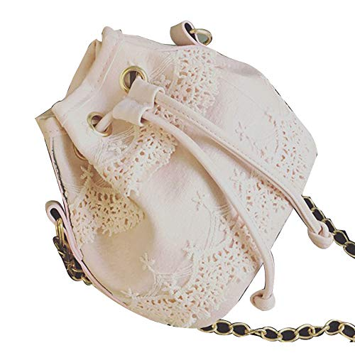 Shoulder Bag for Women, gLoaSublim Fashion Women's Solid Color Lace Faux Leather Crossbody Shoulder Bucket Bag - Pink