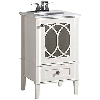 Simpli Home Paige 20 Bath Vanity With Quartz Marble Top Soft White