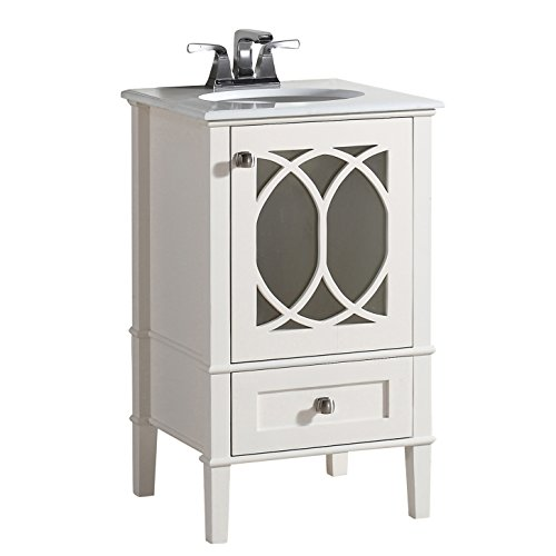 Simpli Home 3AXCVPAW-20 Paige 20 inch Contemporary Bath Vanity in Soft White with White Engineered Quartz Marble Top ()