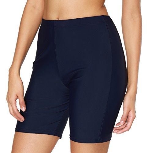 ATTRACO Active Swim Shorts for Women Boyleg Beach Shorts Solid Capris Navy Medium