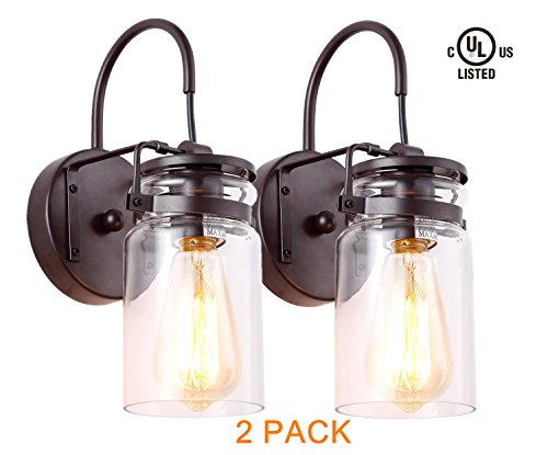 HOMIFORCE Vintage Style 2-Light Sconce Light Set of Two with Super-Thick Glass Shade Simplicity Industrial Retro Edison Fixture in Antique Bronze Finish CL2017036-2(Stephan Bronze)