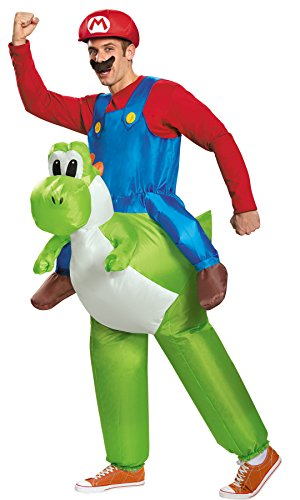 UHC Men's Super Mario Riding Yoshi Inflatable Jumpsuit Funny Theme Fancy Costume, OS (42-46) (Super Mario Mascot)