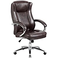 High back executive office chair with chrome armrest and chrome base, Mocha Brown