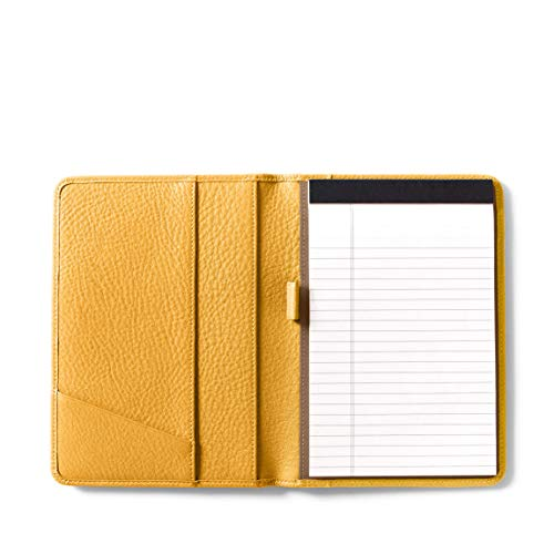 - Leatherology Junior Padfolio with Pen Loop - Full Grain Leather Leather - Turmeric (Yellow)
