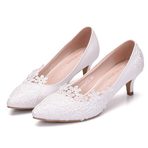Sogala Low Heels Wedding Shoes Lace 3-5 cm Women's Shoes Wedding Bridal Dresses White Bride Shoes from Sogala