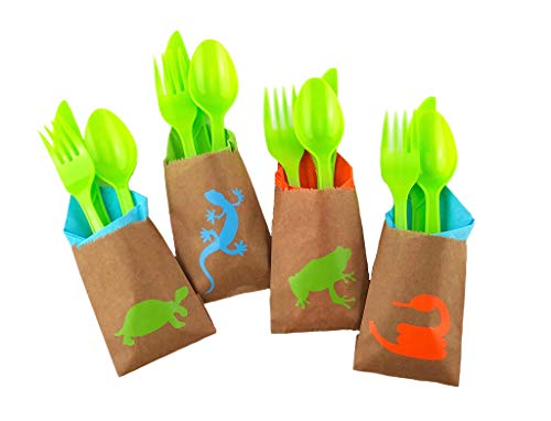 Reptile Party Cutlery Set - 24ct Birthday Supplies Favors for Kids Napkins Bags by Stesha Party