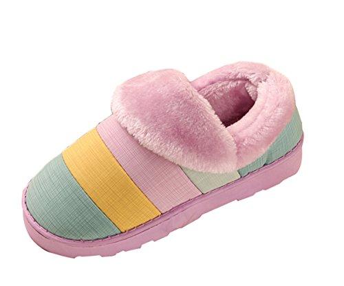 Icegrey Unisex Zapatillas De Estar Por Casa Invierno Patrón De Rayas Calientes Flap Polo De Casa Zueco Pantuflas Púrpura