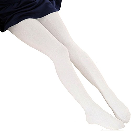 Baby Girl Ballet Dance Footed Tights Winter Knit Stockings Toddler Thermal Tights Leggings (L, White)
