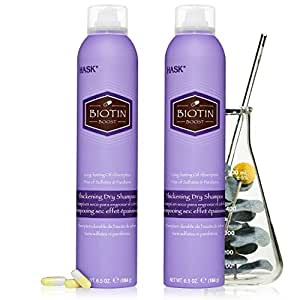 HASK Dry Shampoo Kits for all hair types, aluminum free, no sulfates, parabens, phthalates, gluten or artificial colors (Biotin, 6.5oz-Qty2)