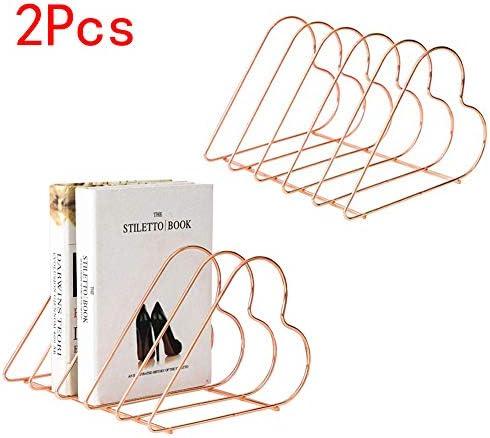 [해외]JIARI 2 Pcs Desktop File Sorter Organizer Magazine Holder Heart-Shaped 5 Section (Rose Gold) / JIARI 2 Pcs Desktop File Sorter Organizer Magazine Holder Heart-Shaped 5 Section (Rose Gold)