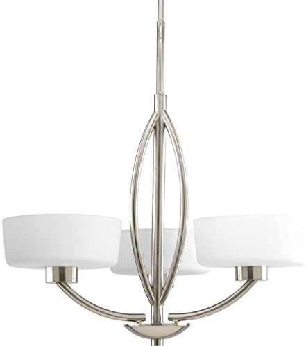 Progress Lighting P4537-09 Calven Collection 3-Light Chandelier, Brushed Nickel