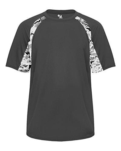 Wicking Softball Jersey - Graphite Digi-Camo Adult 3XL Short Sleeve Digi-Camo Side/Sleeve Panel Performance Sports Wicking Jersey/Shirt