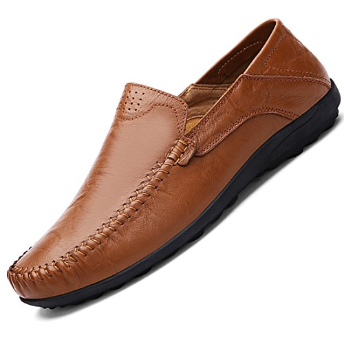 (Lapens Men's Driving Shoes Premium Genuine Leather Fashion Slipper Casual Slip On Loafers Shoes LPMLFS1588-RB42 Red Brown)