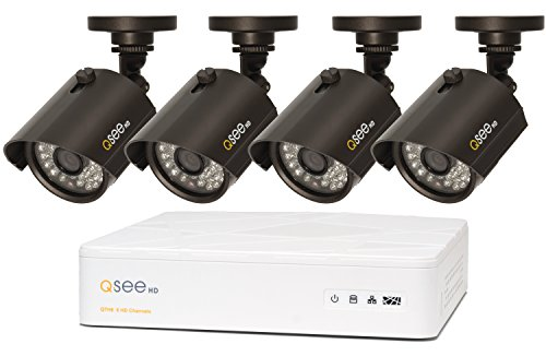 Q-See QTH98-4AG-1 | Surveillance System Includes Four 720p Security Cameras & 8-Channel HD Analog DVR with 1TB Hard Drive | IOS/ Android App | Weather Resistant | Black