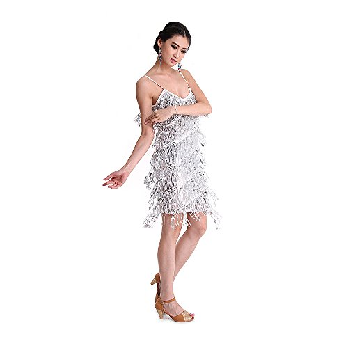 danse de Lady Strap Ballroom Deguisements SymbolLife Blanc Rumba Tassel Paillettes Latine femmes Robe PqzcxwOTY