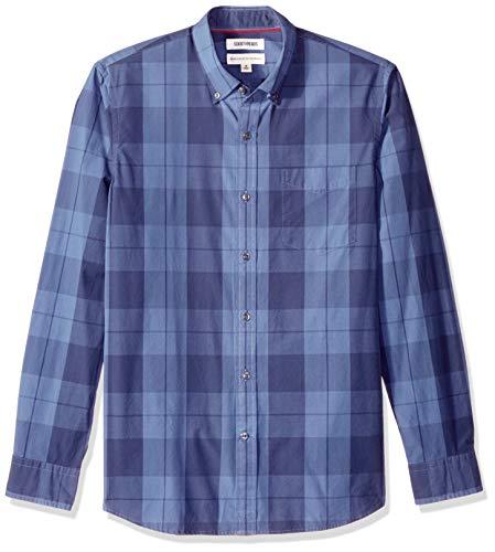 (Goodthreads Men's Standard-Fit Long-Sleeve Plaid Poplin Shirt with Button-Down Collar, Indigo Large, Medium)