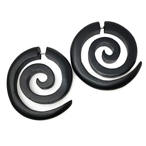 UMBRELLALABORATORY Tribal Organic Wooden Earrings Fake Gauges Sold As Pair Bohemian Jewelry Spiral Tattoo Faux Plugs tapers w -