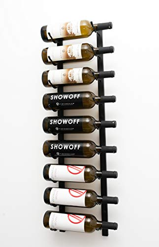 VintageView W Series (3 Ft) – 9 Bottle Wall Mounted Wine Rack (Satin Black) Stylish Modern Wine Storage with Label Forward Design