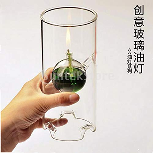 Lamp Burners - Cylinder Glass Oil Kerosene Alcohol Lamp Burner Atmosphere Lighting Wedding Home Decor 3 Sizes - Oil Wick Incense Burner Lamp Lamp Primus Spirit Glass Lab Burners Burner Burner Alc ()