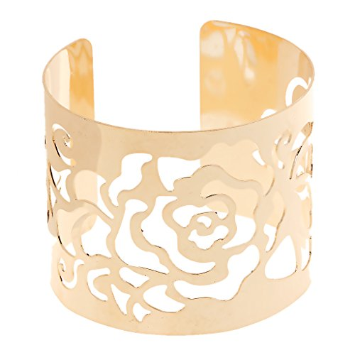 MonkeyJack Rose Flower Hollow Out Upper Arm Band Bracelet Armlet U-Shape Body Jewelry Gift - Gold (Arm Band Jewelry)