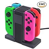 Leandro Switch Joy Con Charging Dock for Nintendo Switch, Joy Con Controller Charger, 4 in 1 Fast Charging with LED Indication, Type C Cable Powered