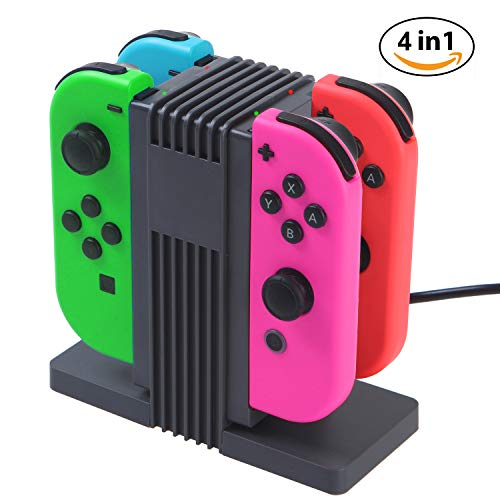 Leandro Switch Joy Con Charging Dock for Nintendo Switch, Joy Con Controller Charger, 4 in 1 Fast Charging with LED Indication, Type C Cable Powered by Leandro