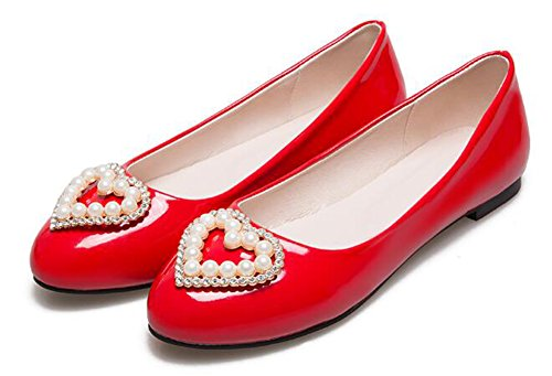 CHFSO Womens Dressy Solid Beaded Round Toe Low Top Slip On Flats Shoes Red a8gKs6LdA