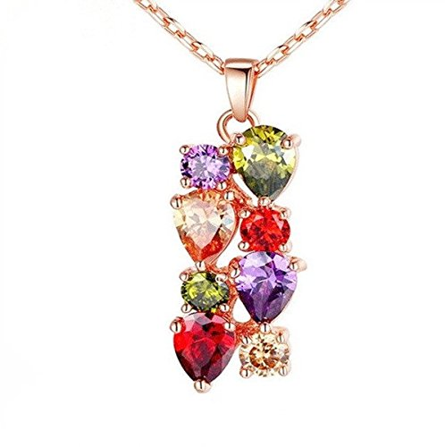 Fashion Jewelry Collection Mona Lisa Colorful AAA Rose Gold Zircon Necklace