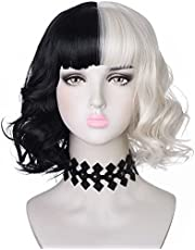 Amzcos Black and Light Blonde Wig with Necklace Choker for Womens Girls Cosplay Costume Short Wavy Bob Synthetic Wigs with Bangs for Halloween Party