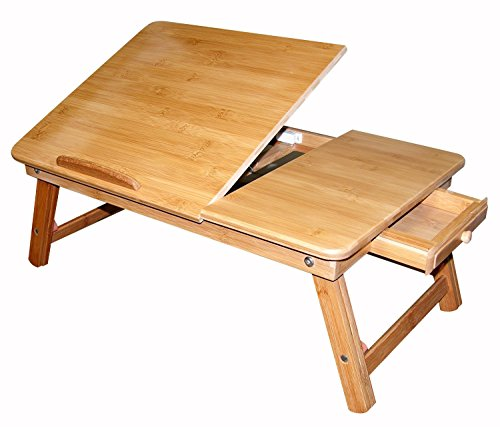 """Bamboo Multi-Position Adjustable Laptop Computer Desk & Serving Bed Tray With Drawer (24""""x16"""")"""
